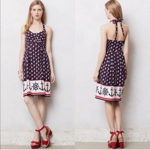 Anthropologie Postmark Anchor Halter Dress